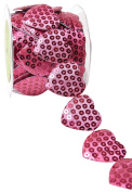 May Arts A478-15-23 Hot Pink 3.8cm Adhesive Sequin Heart,Hot Pink,10 yd
