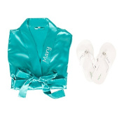 Personalised Satin Robe with Flip Flop Set