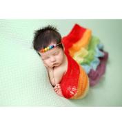 Newborn Baby Photography Photo Prop Stretch Wrap Tassel Blanket (Rainbow colour)