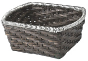 Rectangle Handwoven Woodchip Baskets Container With Metal Rim