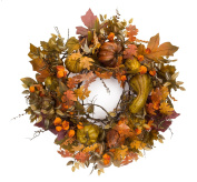 Melrose International Gourds and Berries Wreath, 110cm , Orange/Brown/Amber