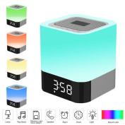 Bedside Lamp, EONANT Bluetooth Speaker Touch Sensor Atmosphere Lighting with Music Player, Alarm Clock Intelligent Voice Reminder