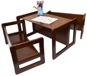 3 in 1 Children's Multifunctional Furniture Set of 3, Two Small Benches or Tables and One Large Bench or Table Beech Wood, Dark Stained