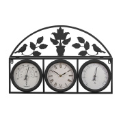 Decorative Large Outdoor Weatherproof Garden Wall and Fence Clock and Weather Station with Thermometer and Hygrometer.