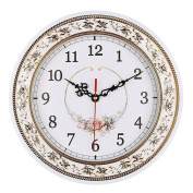 Foxtop 28cm Resin Floral Silent Non Ticking Kitchen Wall Clock for Living Room Home Decoration, Vintage Style Clock