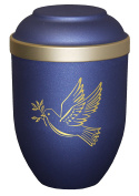 "Urns UK 18.5 x 18.5 x 28 cm ""Bio Dove"" Adult Cremation Urn for Ashes Biodegradable Urn, Blue"