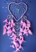 DREAM CATCHER LARGE DREAMCATCHER BABY PINK HEART Silver web FAIR TRADE good quality