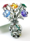 CRYSTOCRAFT Freestanding Crystal Tulips in Crystal Vase