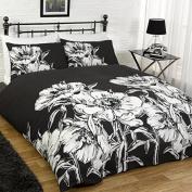 AMELIA FLORAL FLOWERS BLACK DUVET SET QUILT COVER PILLOWCASE BEDDING 3 SIZES