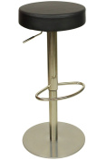 Brushed Chrome Deluxe Semplice Bar Stool Black