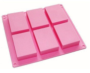 Hosl 6-cavity Plain Basic Rectangle Silicone Mould For Homemade Craft Soap