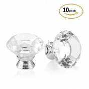 3s 10pcs 40mm Crystal Glass Diamond Shape Cabinet Knob Drawer Pull Handle