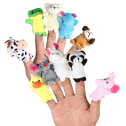 10 Pcs Family Finger Puppets Cloth Doll Baby Educational Hand Cartoon Animal Toy