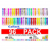 Caliart 96 Colouring Glitter Gel Pen Set Including 48 Glitter Gel Pens & 48