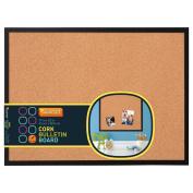 Quartet 43cm X 60cm Cork Bulletin Board, Wood Frame, Black