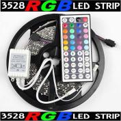 5m Rgb 3528 Smd 300 Led Rope Tape Lights Waterproof Ip65 Dc12v+44 Key Remote