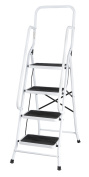 Folding Four Step Ladder With Handrails Xl, White