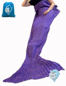 LAGHCAT Mermaid Tail Blanket Crochet Mermaid Blanket for Adult, Soft All Seasons Sleeping Blankets, Classic Pattern