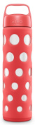 Ello Pure 590ml Bpa-free Glass Water Bottle With Lid, Coral Fizz