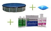 Swimline 7.3m Round Above Ground Pool Cover W/ 1.2mx2.4m Air Pillow + Winterizing Kit