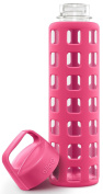 Ello Pure 590ml Bpa-free Glass Water Bottle With Lid, Pink Squares