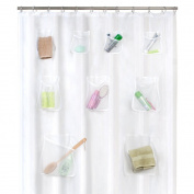 Maytex Mesh Pockets Peva Shower Curtain Clear, New,  .