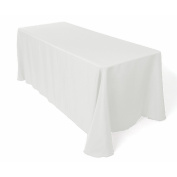 LinenTablecloth 230cm x 340cm Rectangular Polyester Tablecloth with Rounded Corners, White