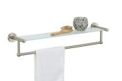 Organise It All Satin Nickel Glass Shelf With Towel Bar