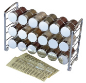 Decobros Spice Rack Stand Holder With 18 Bottles And 48 Labels, Chrome, New