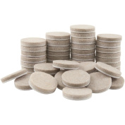 Self-stick 2.5cm Furniture Round Felt Pads For Hard Surfaces, Oatmeal