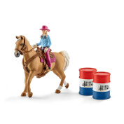 Schleich North America Barrel Racing With Cowgirl Playset New