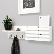 Nexxt Sydney Wall Shelf And Mail Holder With 3 Hooks, 60cm By 15cm , White