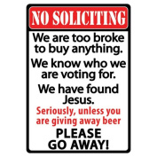 Rivers Edge Products 30cm X 43cm Tin Sign No Soliciting 1494