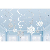 Amscan Winter Wonderland Christmas Party Hanging Snowflakes & Swirl Decorations