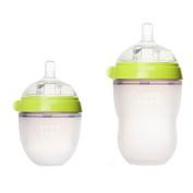 Comotomo - Natural-feel Baby Bottles - 240ml Bottle + 150ml Bottle Pack - Green