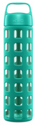 Ello Pure Bpa-free Glass Water Bottle With Lid, Teal Squares, 590ml