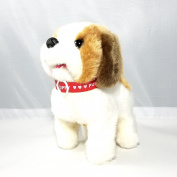 Haktoys Toy Puppy - Battery Operated Walking Barking & Tail Wagging Plush Dog -