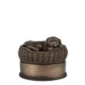 Perfect Memorials Small Bronze Dog In Basket Cremation Urn