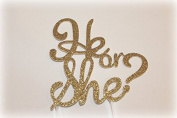 Handmade Gender Reveal Cake Topper Decoration - He or She - Made in USA with Double Sided Gold Glitter Stock