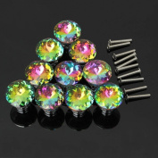 Hosl 10pcs Colourful Crystal Glass Cupboard Wardrobe Cabinet Drawer Knob Door
