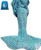 LAGHCAT Mermaid Tail Blanket Knit Crochet Mermaid Blanket for Adult, Oversized Sleeping Blanket, Wave Pattern