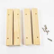HUJI Adjustable Natural Finish Under Cabinet Wood Wine Glass Rack Storage