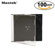 Maxtek Ultra Thin 5.2mm Slim Clear Cd Jewel Case With Built In Black Tray, 100