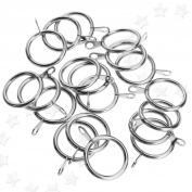 20pcs Chrome Curtain Voiles Drapery Iclip Rings 25mm Pole Diameter Metal