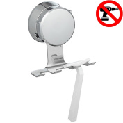 HOME SO Razor Holder with Suction Cup Hanger - Antibacterial Bathroom Shower Shaver Hook Organiser, Stick on Mirror Glass - Rustproof, Stainless Steel