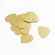 100 Brass Heart Stamping Metal Blank Tags For Metal Punching With Hole 13mm X 13