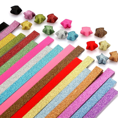 Caydo Origami Stars Paper Folding Strips - 18 Colours, 360 Sheets Glitter