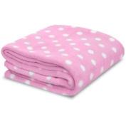 Little Starter Pink & White Polka Dot Soft Plush Baby Blanket, New, Free Shippin