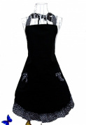 Cute Polka Dot Black Flirty Cake Aprons W/ Pockets For Women Gils Vintage Aprons