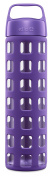 Ello Pure Bpa-free Glass Water Bottle With Lid, 590ml, Grape Squares
